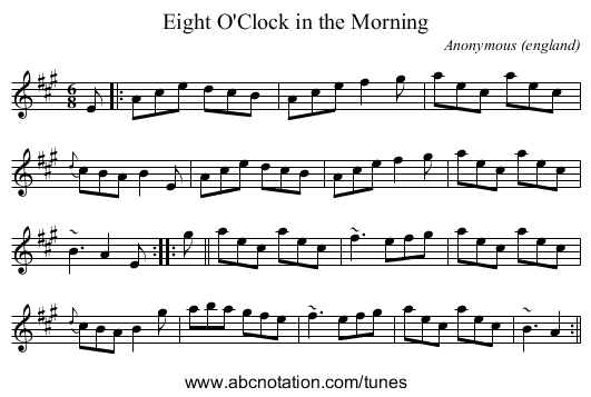 Eight O'Clock in the Morning - staff notation