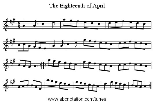 Eighteenth of April, The - staff notation