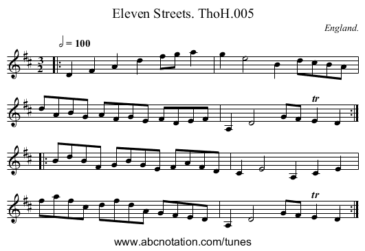 Eleven Streets. ThoH.005 - staff notation