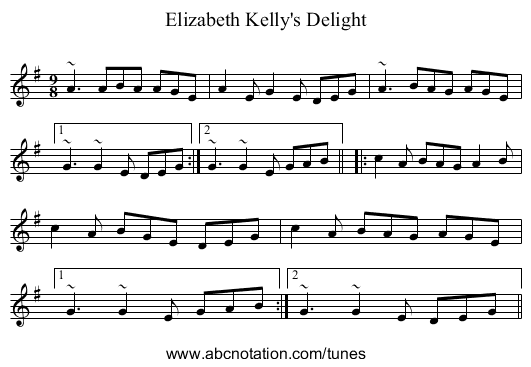 Elizabeth Kelly's Delight - staff notation