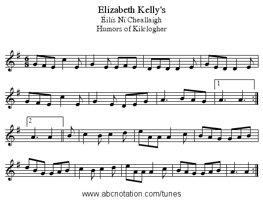 Elizabeth Kelly's - staff notation