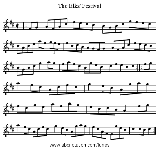 Elks' Festival, The - staff notation