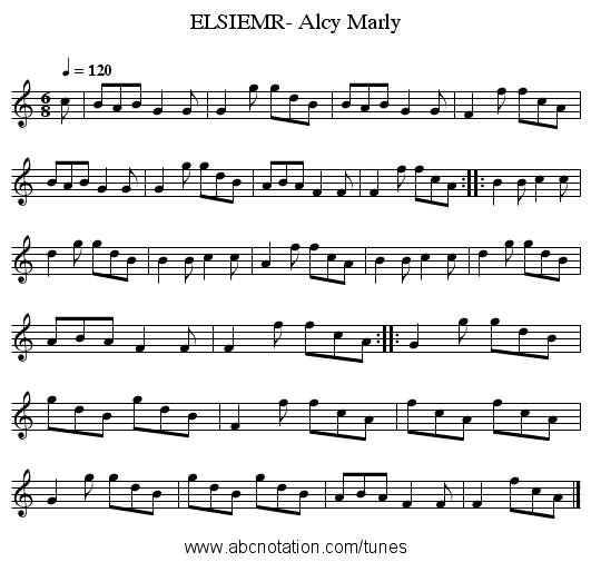 ELSIEMR- Alcy Marly - staff notation