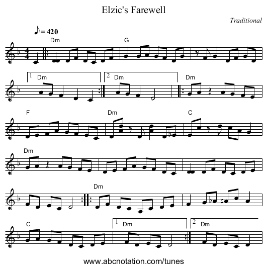Elzic's Farewell - staff notation