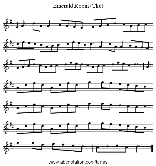 Emerald Room (The) - staff notation