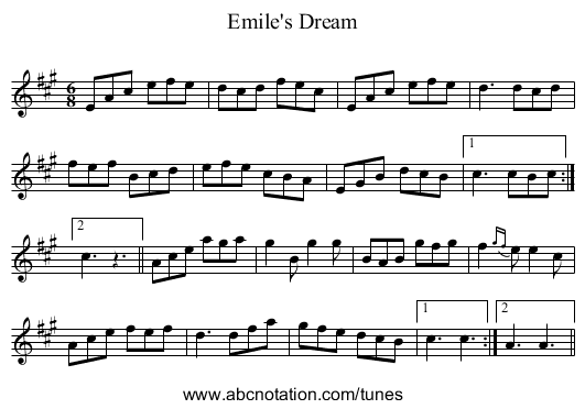 Emile's Dream - staff notation