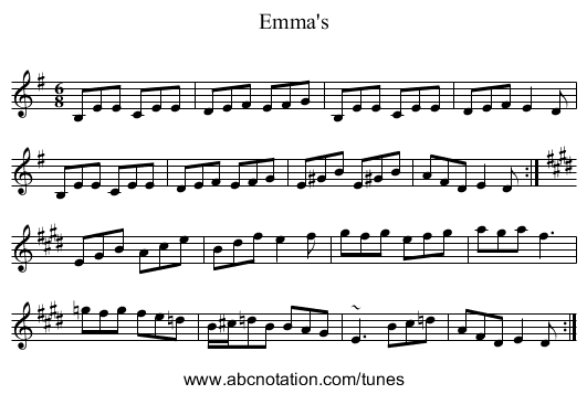 Emma's - staff notation