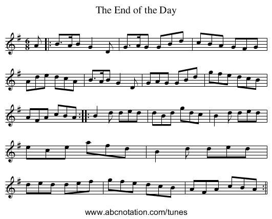End of the Day, The - staff notation