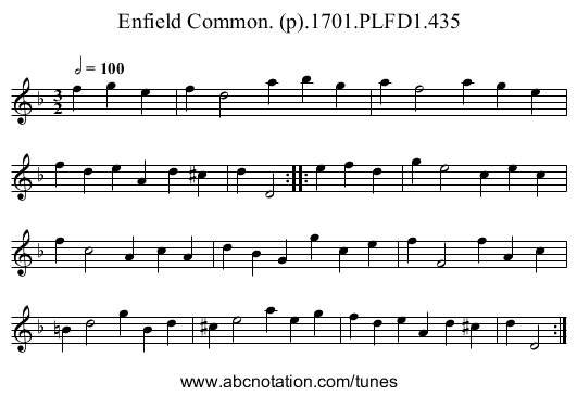 Enfield Common. (p).1701.PLFD1.435 - staff notation