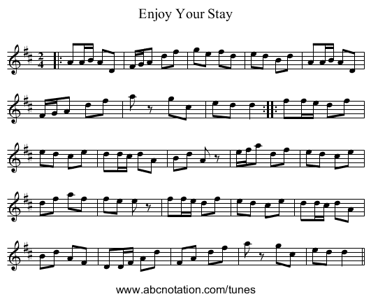 Enjoy Your Stay - staff notation