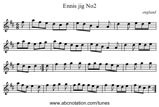 Ennis jig No2 - staff notation