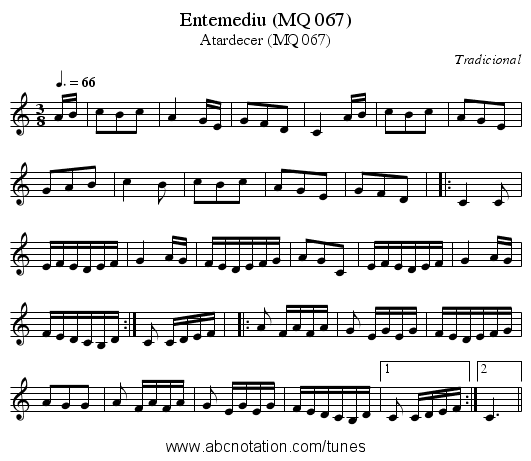 Entemediu (MQ 067) - staff notation