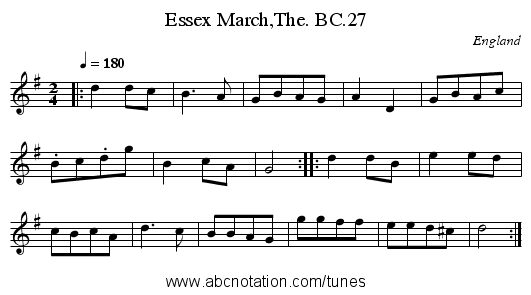 Essex March,The. BC.27 - staff notation