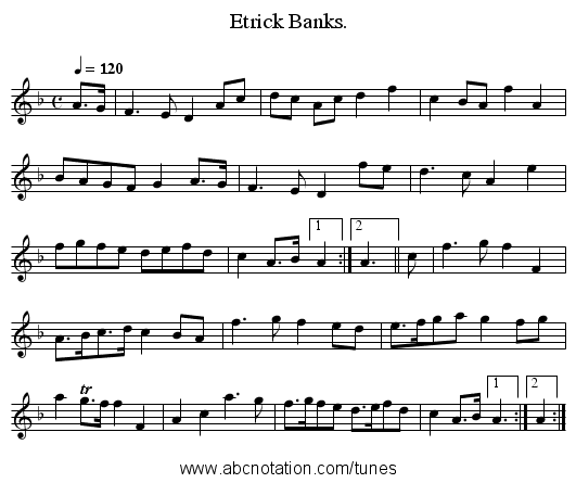Etrick Banks. - staff notation