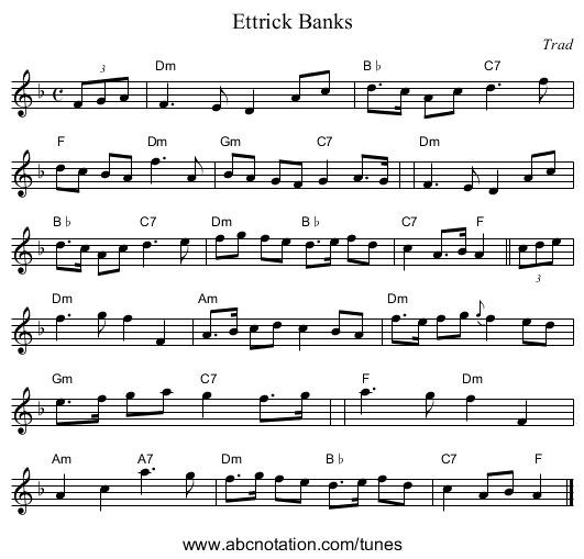 Ettrick Banks - staff notation