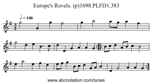 Europe's Revels. (p)1698.PLFD1.383 - staff notation