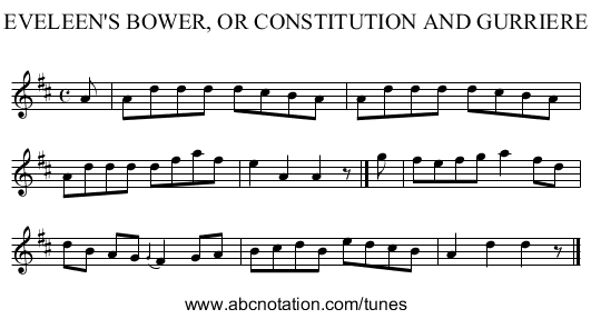 EVELEEN'S BOWER, OR CONSTITUTION AND GURRIERE - staff notation
