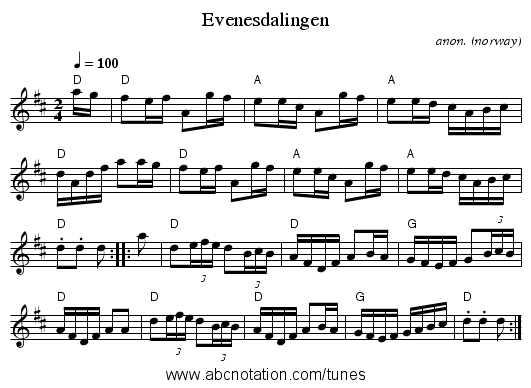 Evenesdalingen - staff notation
