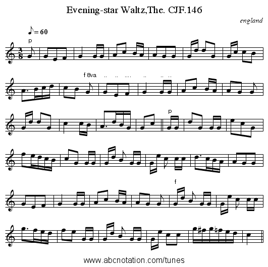 Evening-star Waltz,The. CJF.146 - staff notation