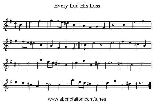Every Lad His Lass - staff notation