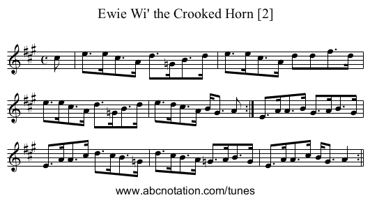 Ewie Wi' the Crooked Horn [2] - staff notation