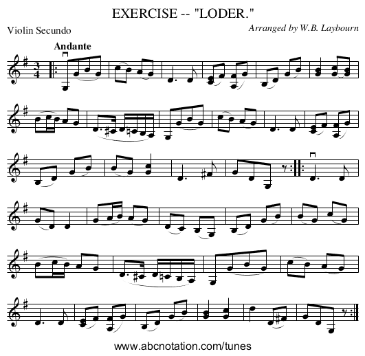 EXERCISE -- LODER. - staff notation