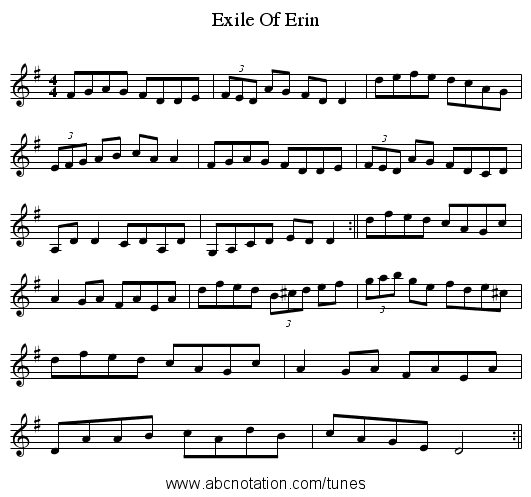 Exile Of Erin - staff notation