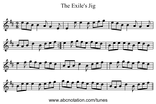 Exile's Jig, The - staff notation
