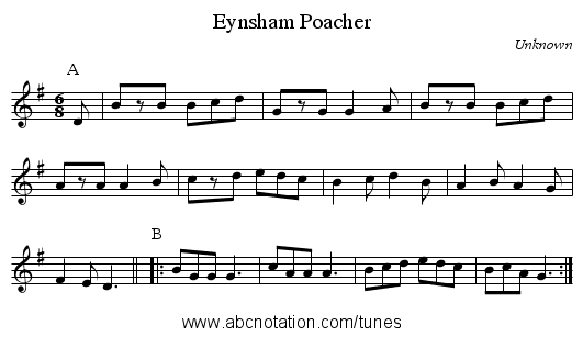 Eynsham Poacher - staff notation