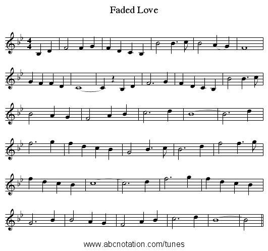 Faded Love - staff notation