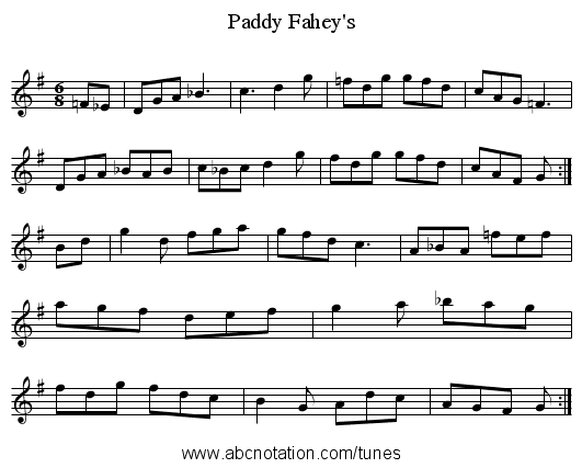 Fahey's, Paddy - staff notation