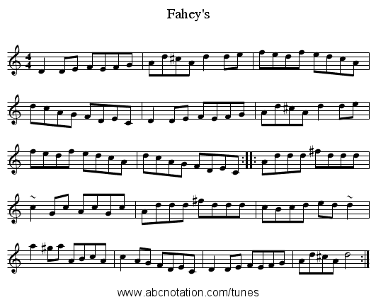 Fahey's - staff notation