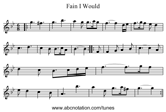 Fain I Would - staff notation
