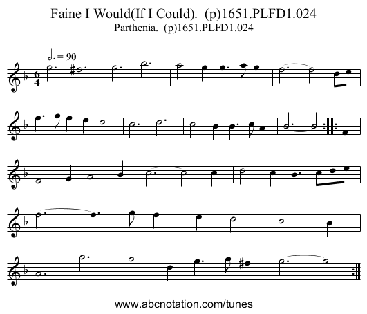 Faine I Would(If I Could).  (p)1651.PLFD1.024 - staff notation
