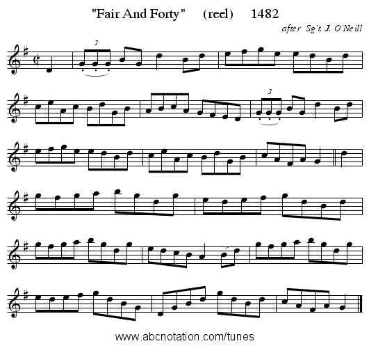 Fair And Forty     (reel)     1482 - staff notation