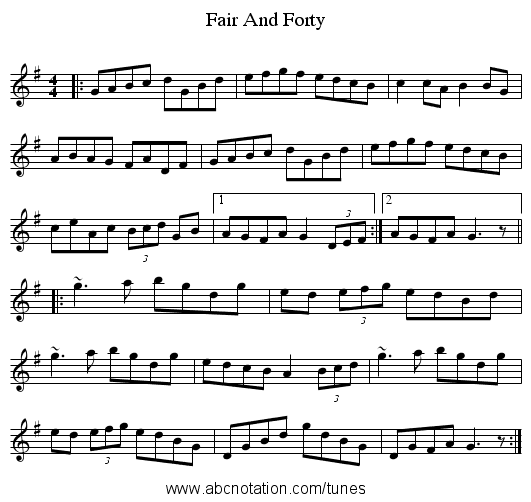 Fair And Forty - staff notation