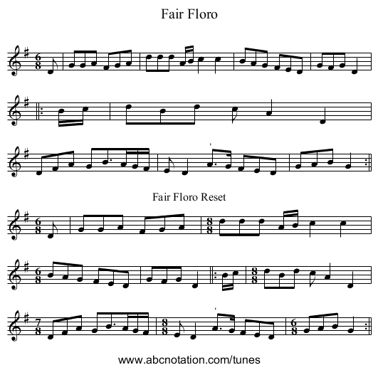 Fair Floro - staff notation