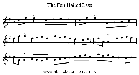 Fair Haired Lass, The - staff notation