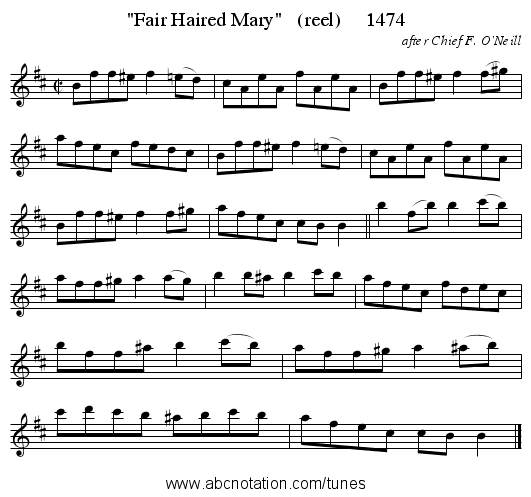 Fair Haired Mary   (reel)     1474 - staff notation