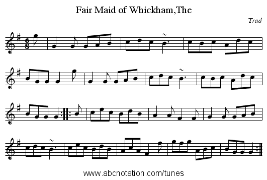 Fair Maid of Whickham,The - staff notation