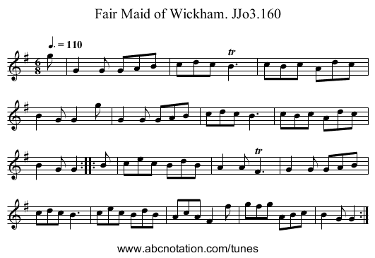 Fair Maid of Wickham. JJo3.160 - staff notation