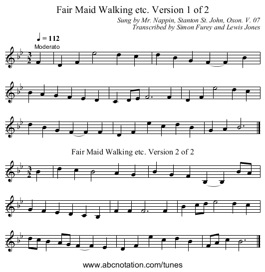 Fair Maid Walking etc. Version 1 of 2 - staff notation