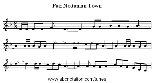 Fair Nottamun Town - staff notation