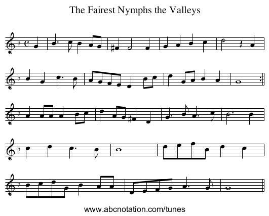 Fairest Nymphs the Valleys, The - staff notation