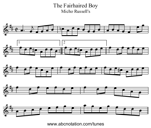 Fairhaired Boy, The - staff notation