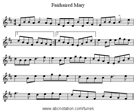 Fairhaired Mary - staff notation
