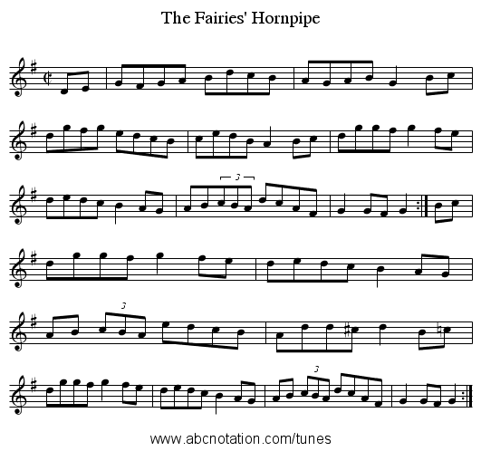 Fairies' Hornpipe, The - staff notation