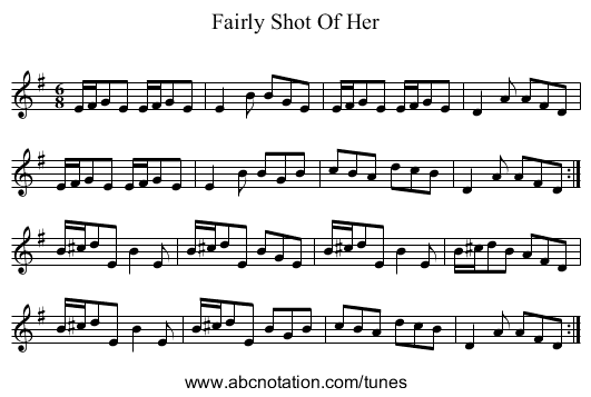 Fairly Shot Of Her - staff notation