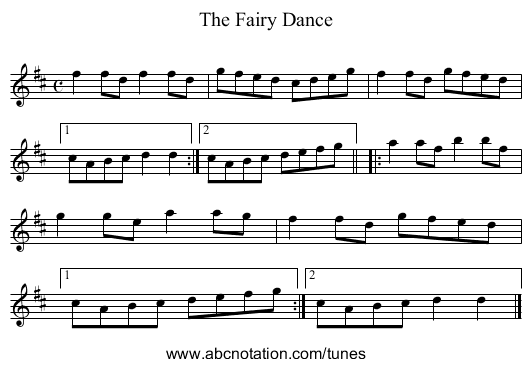 Fairy Dance - staff notation