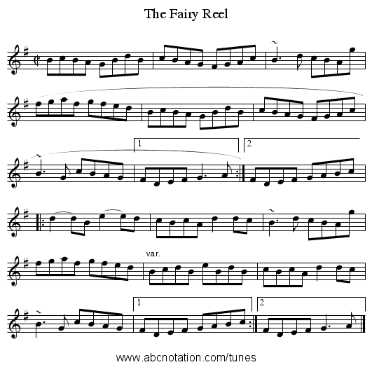 Fairy Reel, The - staff notation